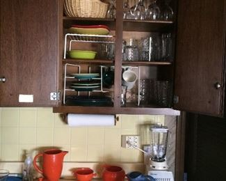 Fiesta ware, blender, misc dishes, glasses