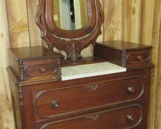 Walnut Dresser w/Wishbone Mirror