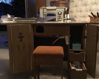 Vintage Brother Sewing machine and cabinet with stool