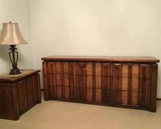 Dresser and night stands and lamps