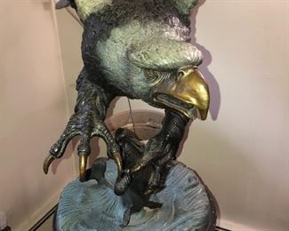 "Mario Nardini (Italian) 50"" Bronze Eagle on 24"" Marble Base"