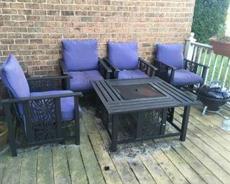 beautiful patio set w/ firepit table