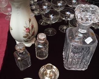 Crystal, vases, glasses, decanter