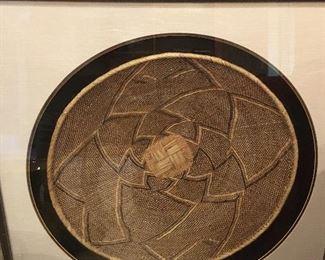 Framed and Mounted Vintage African Basket