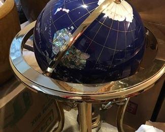Marble World Globe on Brass Stand