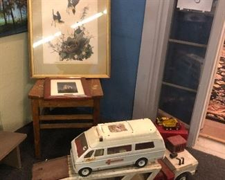 Antique car carrier and ambulance