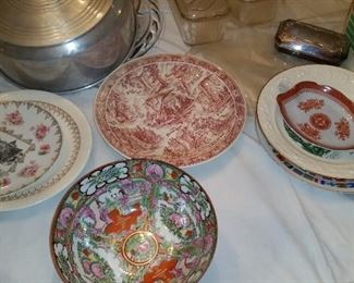 Various collectibles include Spode dish.