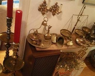 Turkish coffee set, Greek scale, Brass candle sticks, Brass bowl/Bell