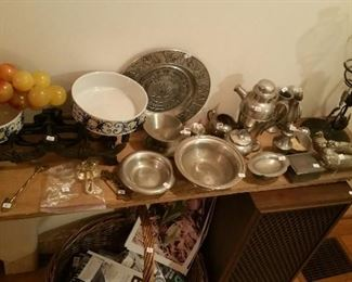 Pewter plates and bowls, Pewter coffee set.