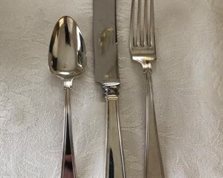 """Gorham """"Etruscan"""" sterling silver flatware set - service for 6 with 3 extra teaspoons."""