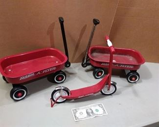 Miniature Radio Flyer Wagons and Scooter