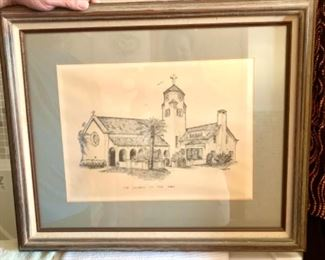 Church by the sea etching
