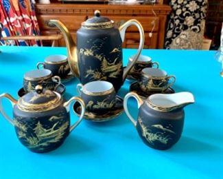 Vintage Japanese black gilded gold porcelain tea set.
