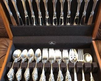 GRANDE BAROQUE STERLING SILVER FLATWARE SET WITH SERVING PIECES