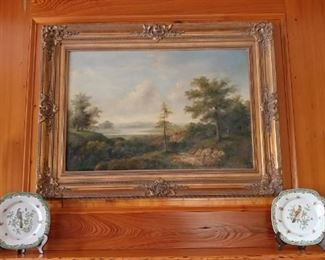 Old brass candlesticks and great landscape painting
