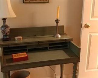 Antiqued green desks