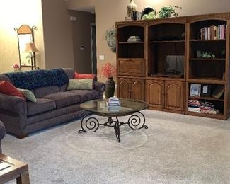 Three-piece wall unit, Sofa with matching love seat, coffee table