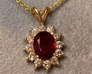 Gold, Ruby and Diamond Earring and Necklace Set