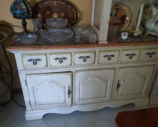 Rhodes Furniture Hutch and two buffets.  Excellent condition,. white wash with a with green satin . The top piece does light up