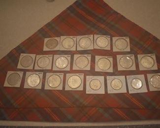 Morgan Silver dollars, Peace Silver dollars, Franklin half dollars, Walking liberties....