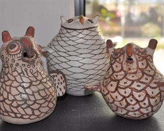 Native American pottery Owls, middle owl made by Marie Chino