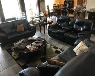 Leather La-Z-Boy recliner sofa pushbutton control perfect condition.  Leather sofa and love seat