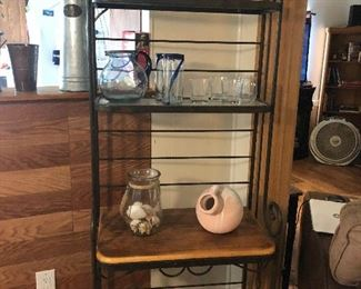 VERY NICE BAKERS RACK WITH WOODEN SHELVES