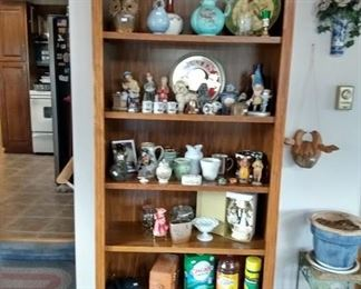 Assoted knickknacks and bookcase