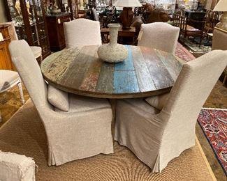 Farmhouse round dining table.