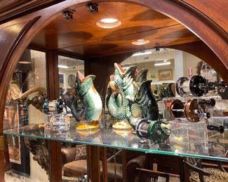 Majolica fish pitchers
