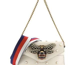 GUCCI Broadway Bee Studded Leather Calfskin Pearl Studded Shoulder Bag