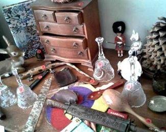 Crystal bells, jewelry case, oriental knives in teak scabbard & other oddities