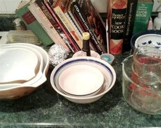 Pyrex bowls. Clear and solid