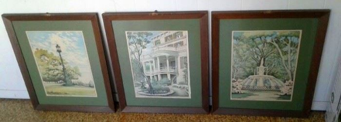 Framed art. About 20 pieces