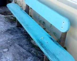 Heavy wood benches around pool/patio.  Set of two.