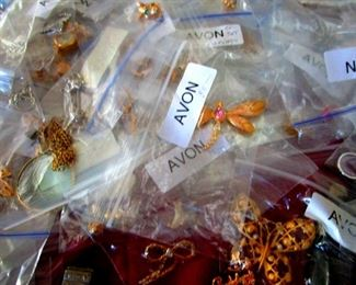 Bins full of Avon Costume Jewelry