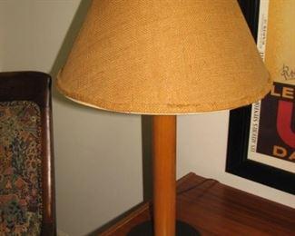 Teak and burlap MCM lamp