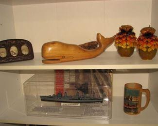 Whale carving, vintage photos, model ship