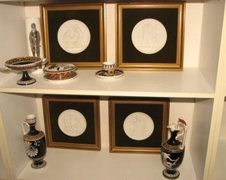 "Royal Copenhagen ""4 Seasons"" bisque plaques, Greek urns"