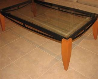 Mid century modern teak and glass table