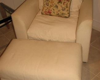Marshall Fields white chair and ottoman