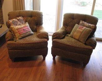 Pair of stuffed club chairs