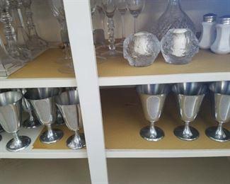 Pewter goblets, crystal