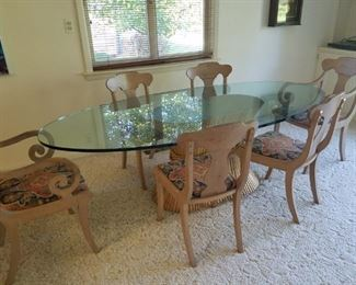 Glass oval dining table with 6 chairs