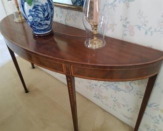 Mahogany bell-flower inlaid, Half moon entry table