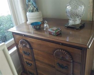 Chippendale style chest with carved fan designs, Waterford lamp, cloissone, etc..