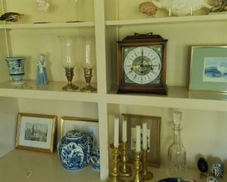Selection of collectibles including carriage clock, brass candle sticks, Imari ware, blue & white china