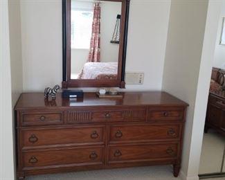 Seven drawer dresser with mirror