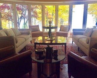 Baker Sofas, Henredon octagon table, Baker coffee table