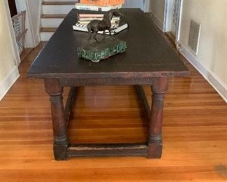 Early English Oak stretcher base refractory table